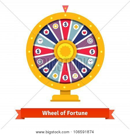 Wheel of fortune with bets icons