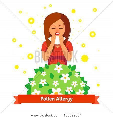 Girl suffering from spring pollen allergy