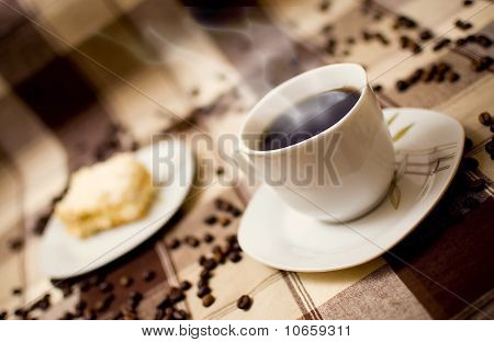 Hot Coffe And Cake