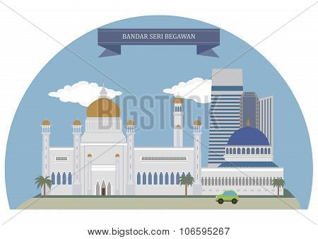 Bandar Seri Begawan capital and largest city of the Sultanate of Brunei poster