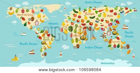 Fruit world map. And vegetables