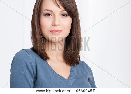 Beautiful female manager portrait, isolated on white