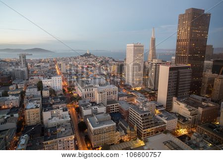 Aerial Views of City Skyline and San Francisco Bay from Downtown, Dusk