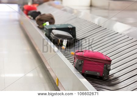 Luggage on the belt in the airport