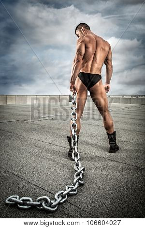 Strong Bodybuilder With Chain