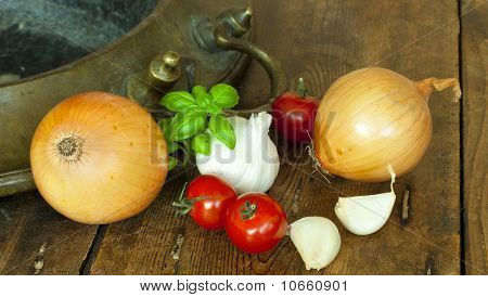 Ingredients on wooden table.