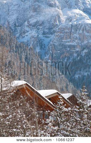 Mountain landscape in wintertime.