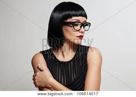 Sexy Brunette Wear Eyeglasses