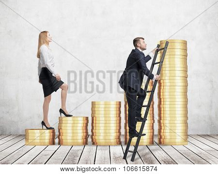 A Woman In Formal Clothes Is Going Up Using A Stairs Which Are Made Of Golden Coins, While A Man Has