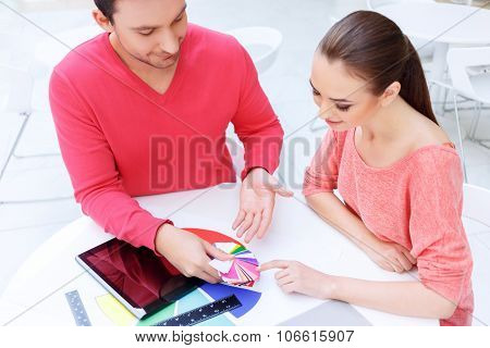 Female designer picks the color she approves.