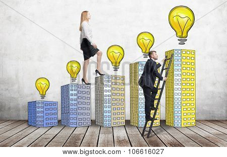 A Woman In Formal Clothes Is Going Up Using A Stairs Which Are Made Of Houses With Lightbulbs, While