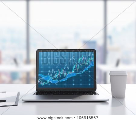 There Are A Laptop With Forex Chart On The Screen, Legal Pad And A Cup Of Coffee On The Table. A Mod