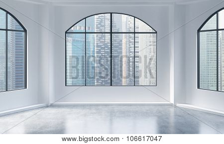 An Empty Modern Bright And Clean Loft Interior. Singapore City View. A Concept Of Luxury Open Space