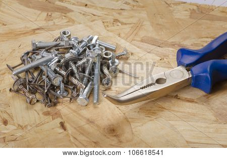 Building Accessories. Pliers, Bolts,screws, Nails