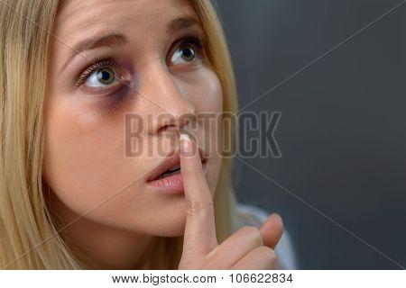 Hopeless woman expressing fear