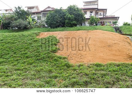 Slope Erosion With Grids And Grass Planted On Steep Slope