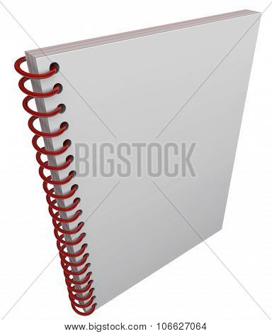 Blank cover on spiral bound book, journal or diary cover with space for your message, text or title poster
