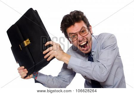 Young employee with briefcase isolated on white poster