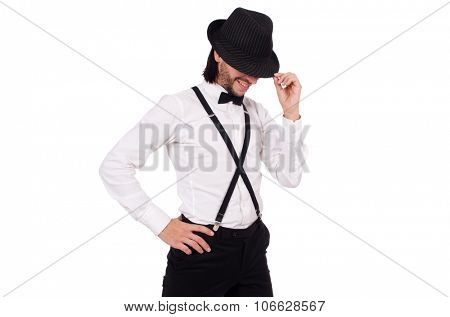 Young gentleman with hat isolated on white
