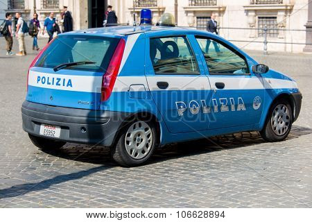 Rome - MARCH 21, 2014: Police Car on March 21 in Rome, Italy. Police Car in italian capital Rome