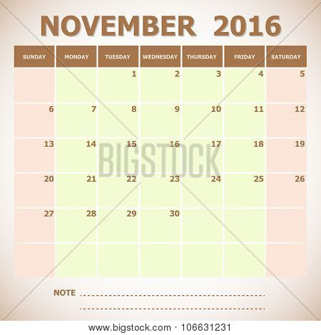 Calendar November 2016 Week Starts Sunday