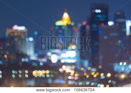 City blurred bokeh lights at night