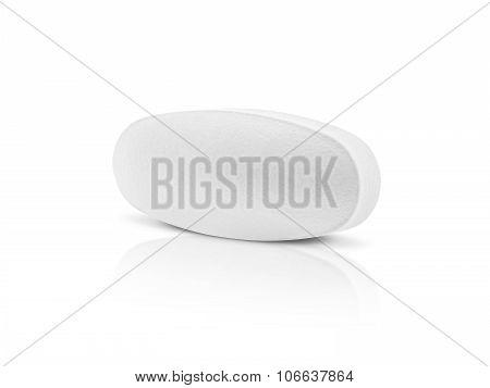 White Medicine Tablet Isolated On White Backgrounnd