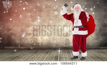 Santa ringing his bell against grimy room