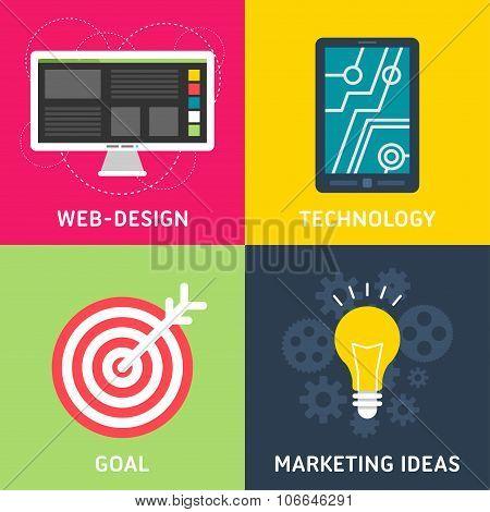 Set Of Flat Design Vector Business Illustrations. Web Design, Technology, Goal, Marketing Ideas