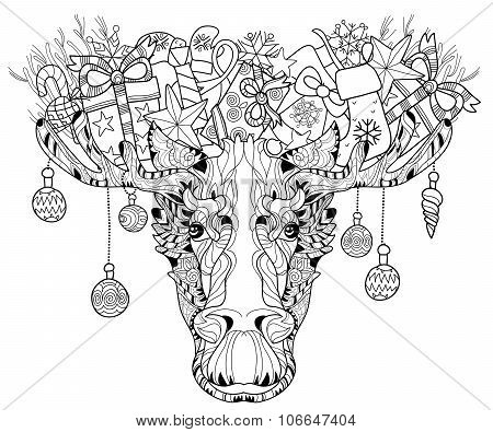 Christmas Head Of Elk Layered Vector Illustration