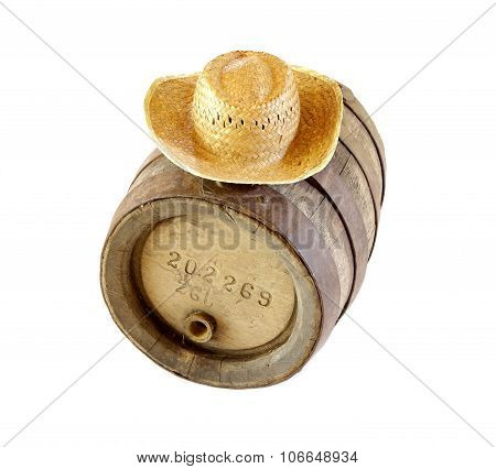 Diogenes of Sinope and barrel metaphor representing very old vintage cask and straw hat poster