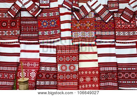 Belorussian woven towels with bright multicolored geometric pattern poster