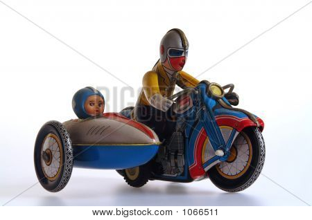 Tin Toy Motorcycle And Sidecar