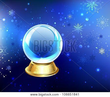 Snow Globe On A Blue Background