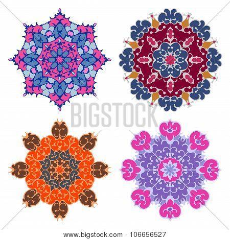 Set Of Four Bright Mandalas