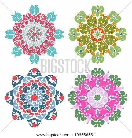 Set Of Four Candy Color Mandalas