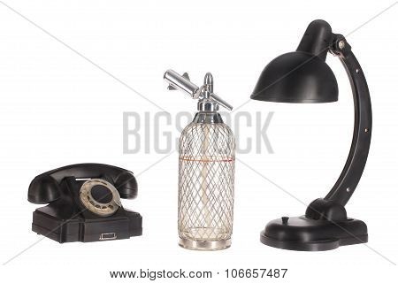 Still Life With Old Phone And Lamp
