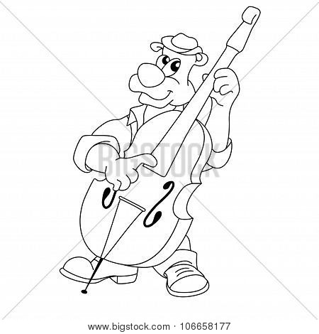 Musician Funny Bear Plays Double Bass