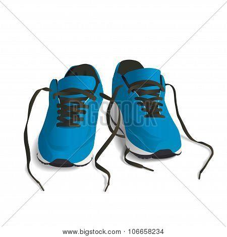 Blue Sport Shoes For Running Vector Illustration