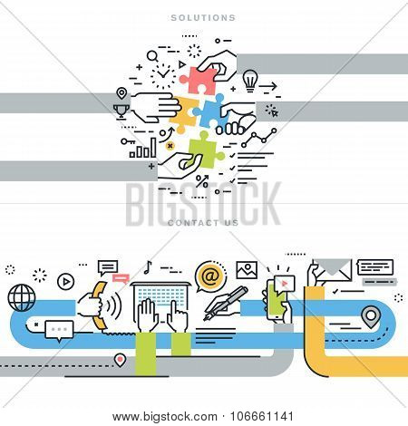 Flat line design vector illustration concepts for website banners for contact us and solutions web p