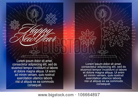 Elegant element from flat line with symbols of Christmas and New Year