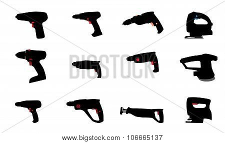 Drill, Jig Saw and other Power Tools. Vector Illustration.
