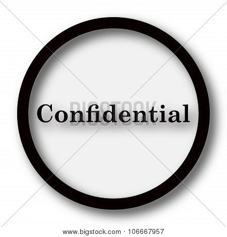 Confidential icon. Internet button on white background. poster