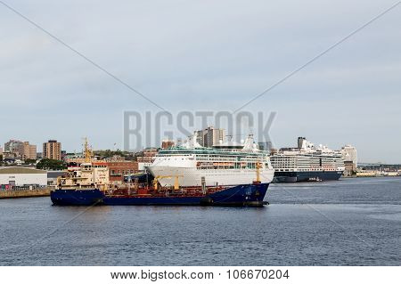 Cruise Ships And Freighter In Halifax