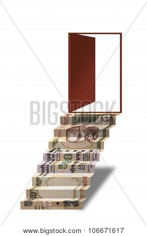 500 rupee indian currency note Folded As Steps leading to open door, opportunity, financial freedom,
