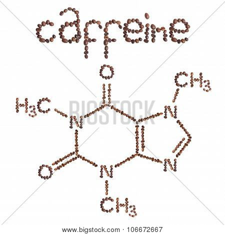 Caffeine chemical molecule structure. The structural formula of caffeine with dark brown coffee bea