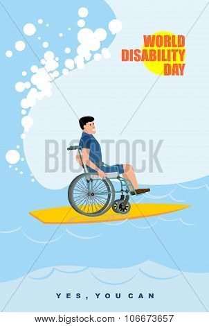 World Disabilities Day. Man In Wheelchair Floats On Board For Surfing. Disabled In  Protective Suit