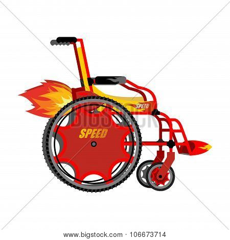 High-speed Wheelchair. Chair For Disabled With Turbo Acceleration. Turbo Turbine And Engine Fire. Ch