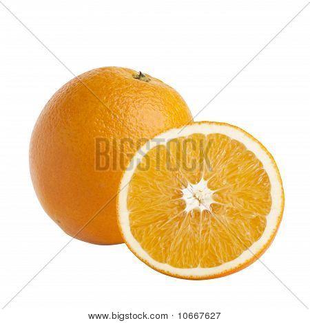 One And Half Oranges On White Background