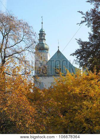 chateau in Frydek-Mistek in autumn